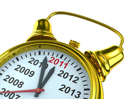 year calendar on alarm clock. Isolated 3D image photo