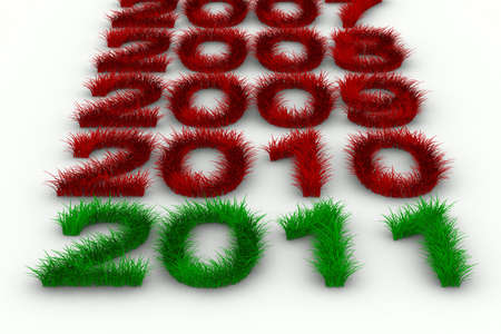 2010 year from grass. Isolated 3D image Stock Photo - 7988701