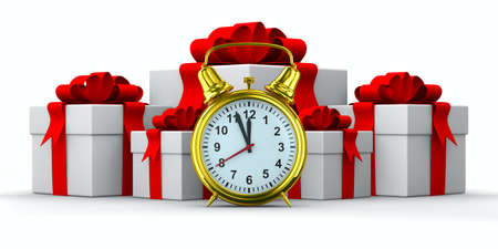 alarm clock and white gift box. Isolated 3D image photo