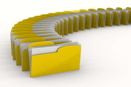 gestion documental: Carpeta de equipo amarillo sobre fondo blanco. Imagen aislados 3d
