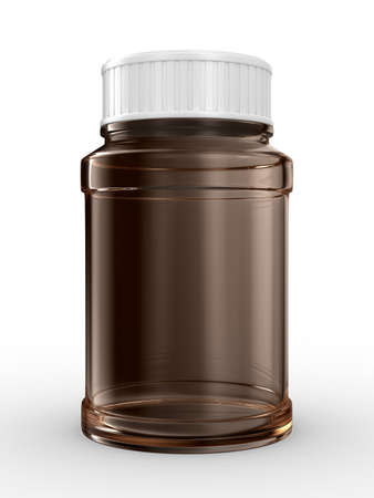 remedy: Bottle for tablets on white background. Isolated 3D image