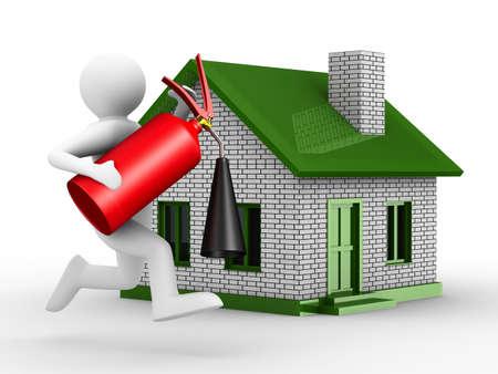proteccion: Protección de prevención de incendios de casa. Imagen aislados 3D