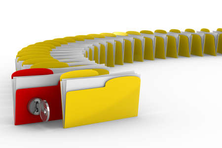 computer folder with key. Isolated 3d image photo