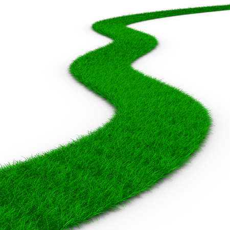 grass area: road from grass on white. Isolated 3D image Stock Photo
