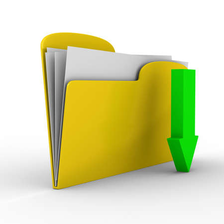 Yellow computer folder on white background. Isolated 3d image photo