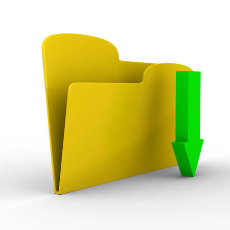 digital download: Yellow computer folder on white background. Isolated 3d image