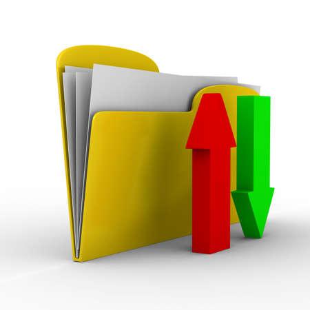 Yellow computer folder on white background. Isolated 3d image photo
