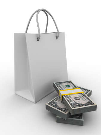 shoping bag: Shoping bag on white. Isolated 3D image