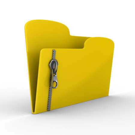 Yellow computer folder with zipper. Isolated 3d image photo
