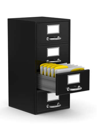 card file: Filing cabinet on white. Isolated 3D image