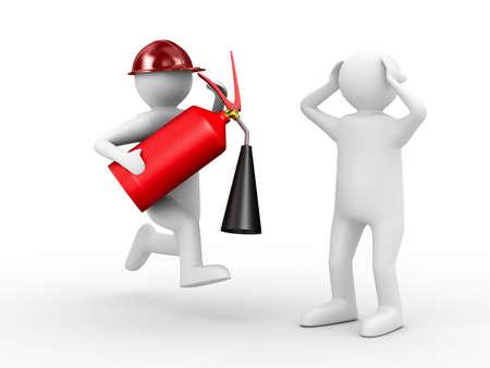 bombero de rojo: bombero sobre fondo blanco. Imagen aislados 3D