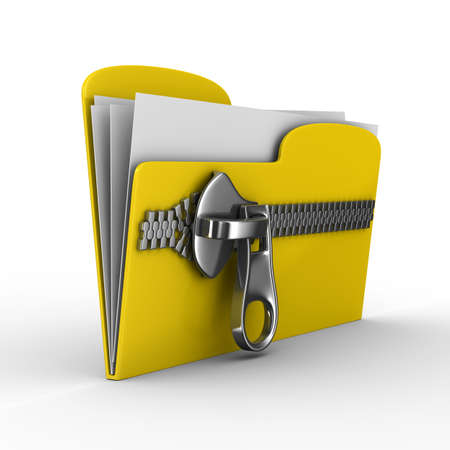 category: Yellow computer folder with zipper. Isolated 3d image
