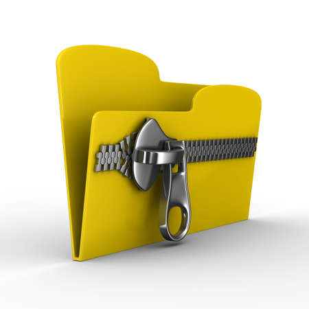 Yellow computer folder with zipper. Isolated 3d image Stock Photo - 8127189