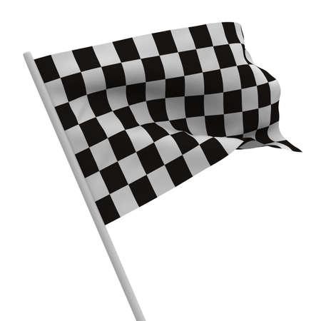 foso: Bandera a cuadros acabado sobre fondo blanco. Imagen aislados 3D  Foto de archivo