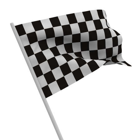 rally: finishing checkered flag on white background. Isolated 3D image