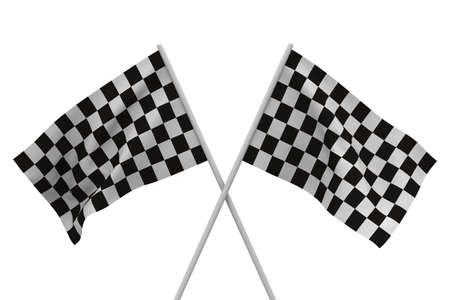 finishing checkered flag on white background. Isolated 3D image photo