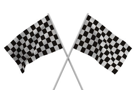 chequer: finishing checkered flag on white background. Isolated 3D image