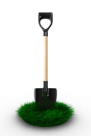 Shovel on white background. garden tool. Isolated 3D image Stock Photo - 8183113