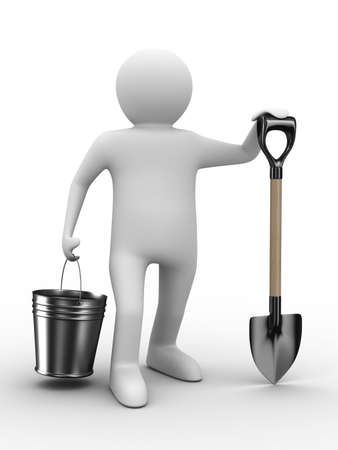 spade: Man with bucket and shovel on white background. Isolated 3D image