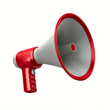 voice message: Megaphone on white background. Isolated 3D image