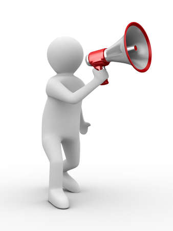 a communication: orator speaks in megaphone. Isolated 3D image Stock Photo