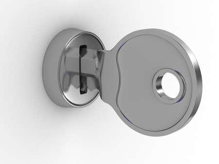 to lock: Clave aislada y bloqueo sobre fondo blanco. Imagen 3D