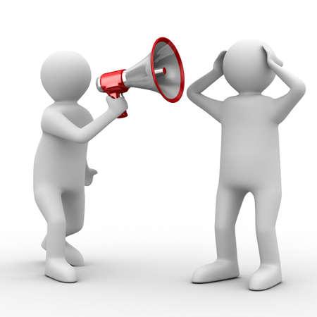 anunciar: orador habla en meg�fono. Imagen aislados 3D