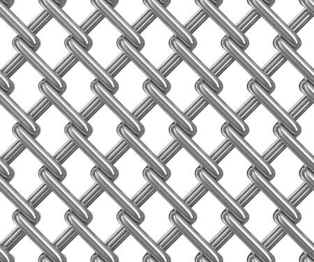 chainlink fence: Seamless chainlink fence on white. Isolated 3D image Stock Photo