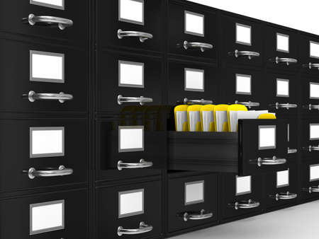 Filing cabinet on white. Isolated 3D image Stock Photo - 8208545