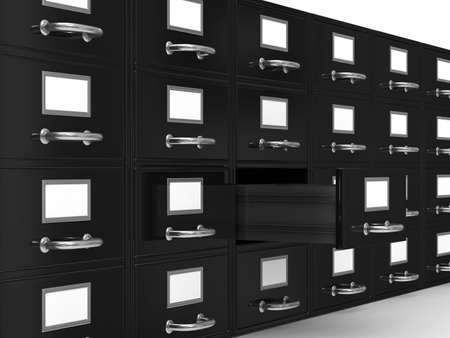 cajones: Archivador en blanco. Imagen aislados 3D