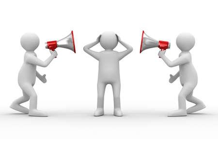 dos personas hablando: orador habla en megáfono. Imagen aislados 3D