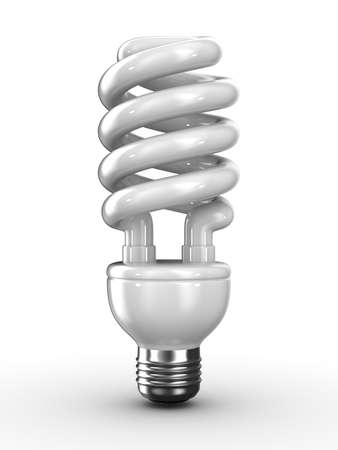 lighting bulb: energy saving bulb on white background. Isolated 3D image Stock Photo