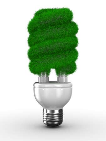 bombillo ahorrador: ahorro bombilla sobre fondo blanco de energía. Imagen aislados 3D  Foto de archivo