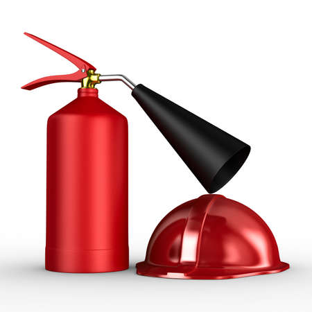 buckler: fire extinguisher on white background. Isolated 3D image