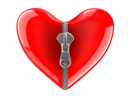 Zipper in heart. Isolated 3D image on white  photo