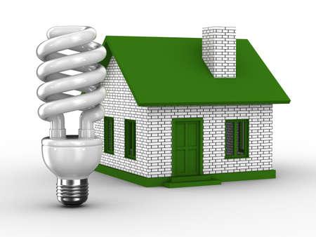 bombillo ahorrador: Eficiencia de energía de la casa. Imagen aislados 3D