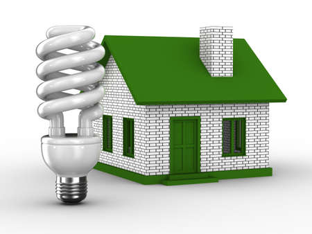 lighting bulb: Power efficiency of house. Isolated 3D image