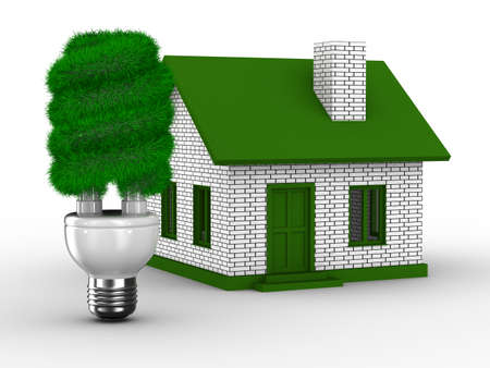 energy efficient light bulb: Power efficiency of house. Isolated 3D image