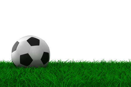 soccer ball on grass. Isolated 3D image photo