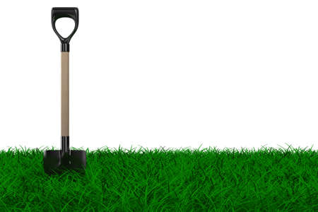 overgrown: Shovel on grass. garden tool. Isolated 3D image