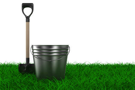 Shovel and bucket on grass. garden tool. Isolated 3D image Stock Photo - 8265712