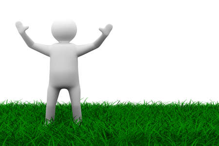 happy man on grass. Isolated 3D image photo
