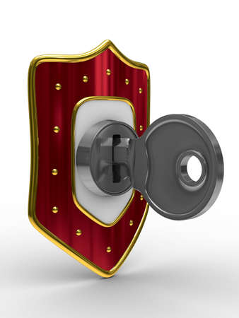latch: red shield with key. isolated 3D image