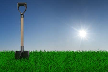 Shovel on grass. garden tool. 3D image photo