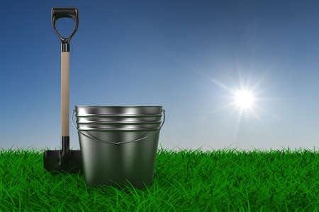 overgrown: Shovel and bucket on grass. garden tool. 3D image