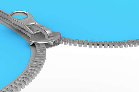 fastening: Zipper on white background. Isolated 3D image Stock Photo