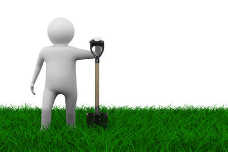 Man with shovel on grass. Isolated 3D image  photo