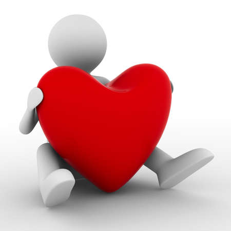 cherish: men with red heart on white. Isolated 3D image