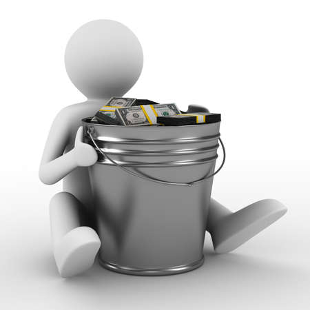bucket of money: businessman with bucket of money. isolated 3D image Stock Photo