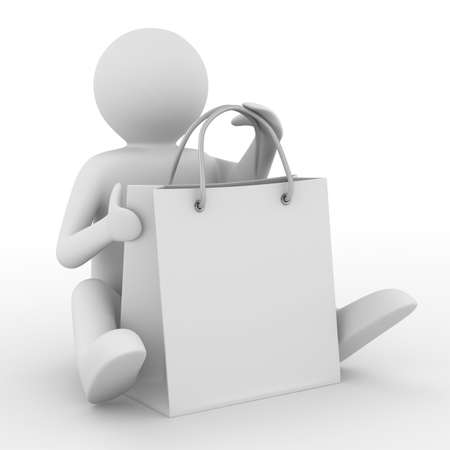 shoping bag: Man with shoping bag on white. Isolated 3D image